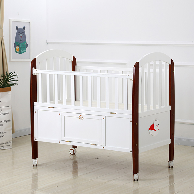 Modern White and Maroon Baby Wood Crib Bed with Drawers and Wheels